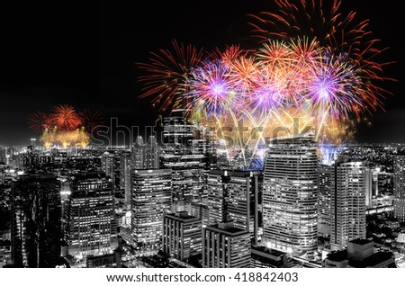 Fireworks celebrating over cityscape at night of Thailand.  - stock photo