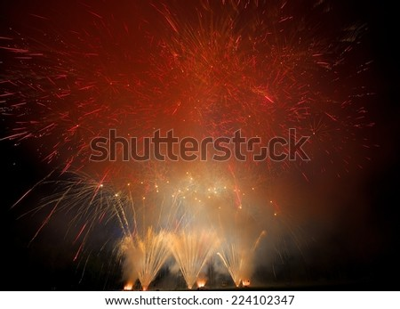 Fireworks. Colorful different colors explosion with the smog around - stock photo