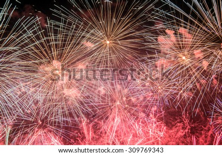 Fireworks. Day of the city celebration at evening time. - stock photo
