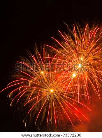 Fireworks display to celebrate Chinese Lunar New Year in Singapore in 2012 - stock photo