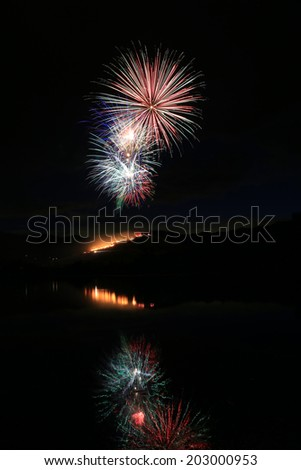 Fireworks display with night sky background. - stock photo