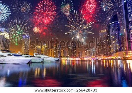Fireworks displayon the sky in Dubai city, UAE - stock photo