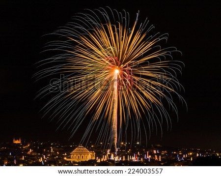 Fireworks, for St. Mary's Feast - stock photo