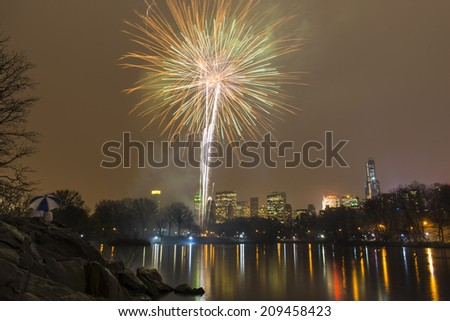 Fireworks from Central Park, New York City - stock photo