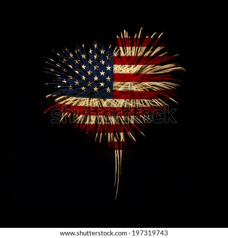 fireworks in a heart shape with the U.S. flag on a black background - stock photo