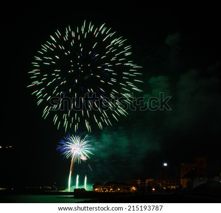 fireworks in Alghero on a summer night - stock photo