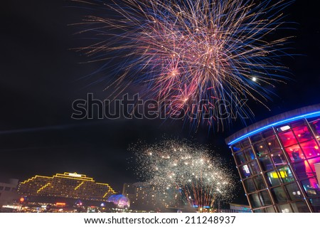 Fireworks in darling harbour, Sydney, Australia - stock photo