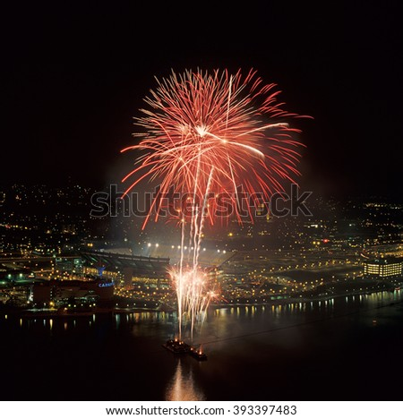 Fireworks in Pittsburgh US - stock photo