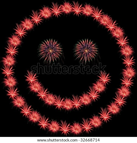 Fireworks Isolated and Arranged in a Smiley Shape - stock photo