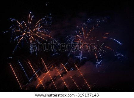 Fireworks light up the sky - stock photo