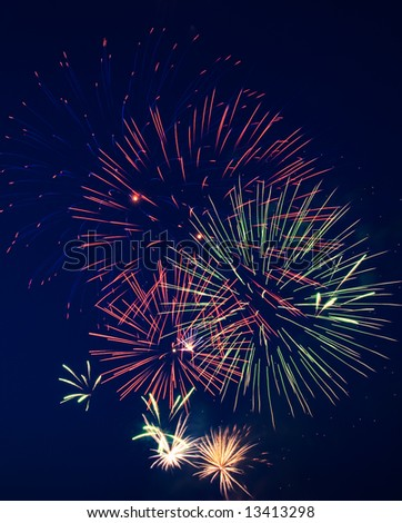 Fireworks on Independence Day. Dark sky. 5 - stock photo