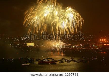fireworks over harbor - stock photo
