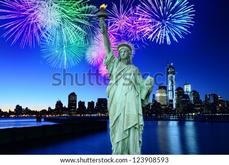 Fireworks over New York City skyline and Statue of Liberty, NYC, USA - stock photo