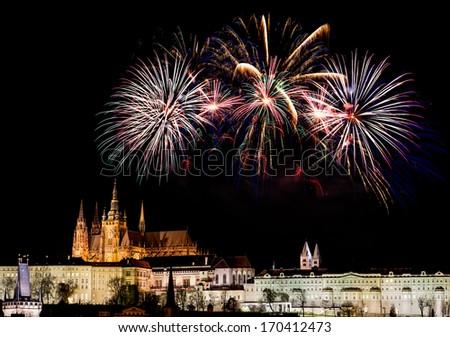 Fireworks over Prague Castle - stock photo