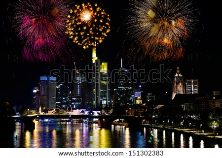 Fireworks over the city of Frankfurt, in Germany - stock photo