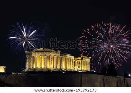Fireworks over the Parthenon temple of Athens  for New Year celebration - stock photo