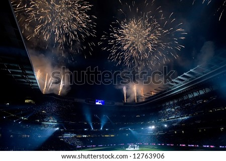 Fireworks over the Santiago Bernabeu stadium celebrating Real Madrid championship after final match of 2007-8 league season in Madrid, May 18, 2008. - stock photo
