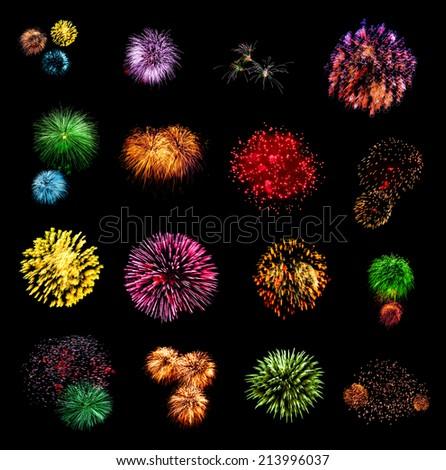 Fireworks set isolated on black background - stock photo