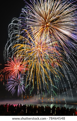 fireworks to the evening sky - stock photo