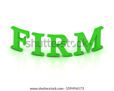 FIRM sign with green letters on isolated white background - stock photo