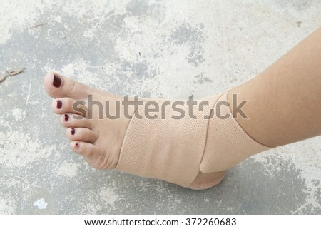 first aid accident ankle  - stock photo