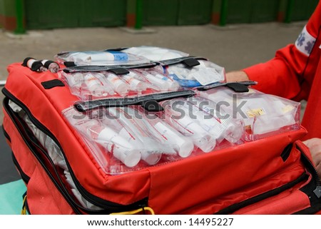 first aid backpack - stock photo