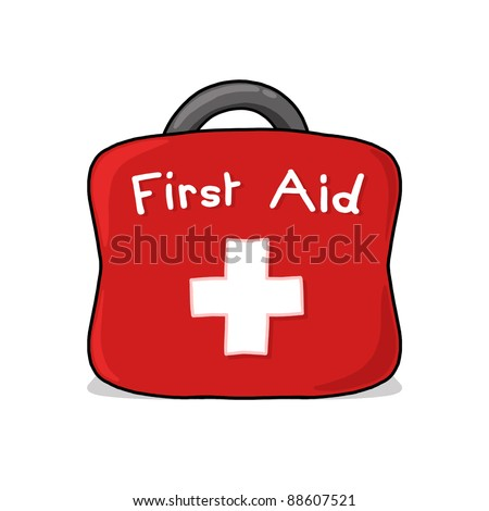 First Aid Bag Illustration; First aid kit drawing - stock photo