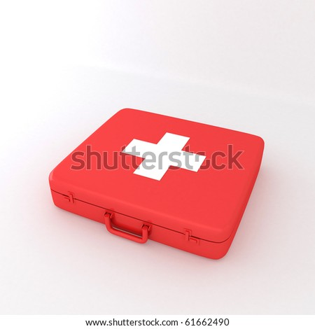 First Aid Box 3D - stock photo