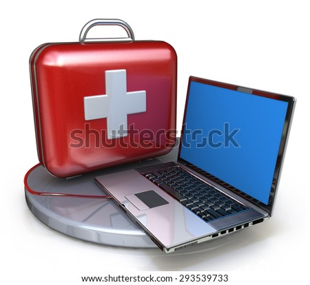 First aid for laptop  - stock photo