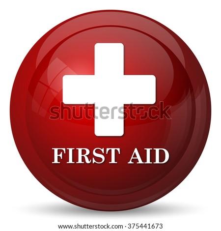 First aid icon. Internet button on white background.  - stock photo