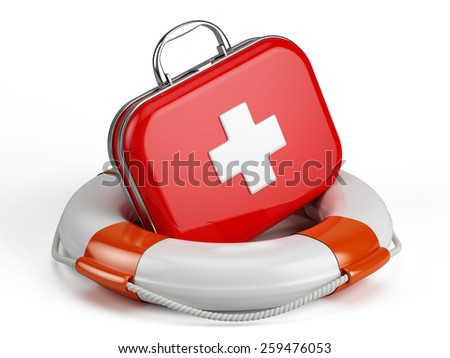 First Aid Kit and Life buoy - stock photo