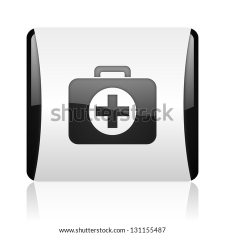 first aid kit black and white square web glossy icon - stock photo