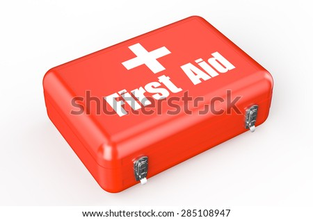 first aid kit closeup isolated on white background - stock photo