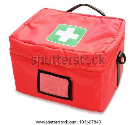 First aid kit isolated against white background - stock photo