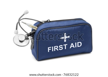 First aid kit isolated on white background - stock photo