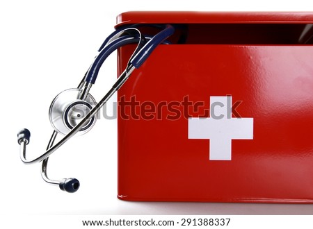 First Aid Kit, Medicine, Charity and Relief Work. - stock photo