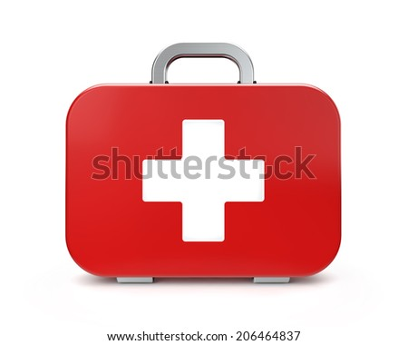First aid kit on isolated white background - stock photo