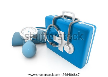 First Aid Kit on white background - stock photo