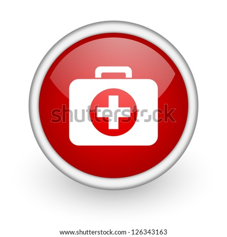 first aid kit red circle web icon on white background - stock photo