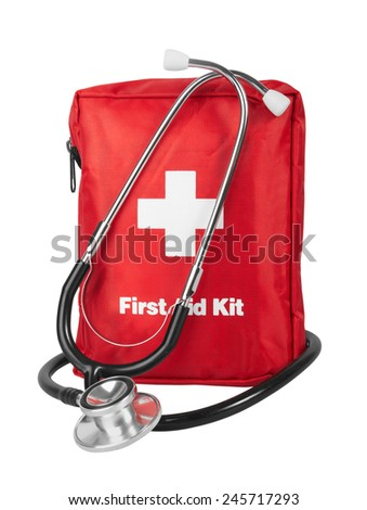 First Aid Kit with stethoscope, Isolated on white background - stock photo