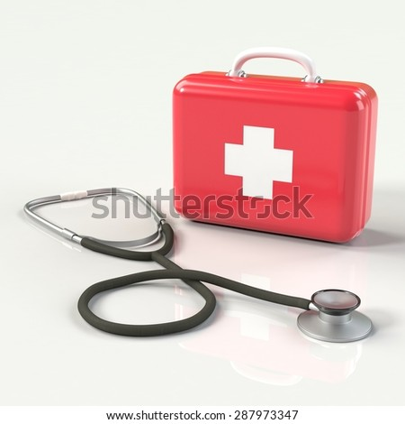 First aid kit with stethoscope. Red doctor's bag with white cross with reflection. Emergency, healthcare, paramedic assistance concept.  - stock photo