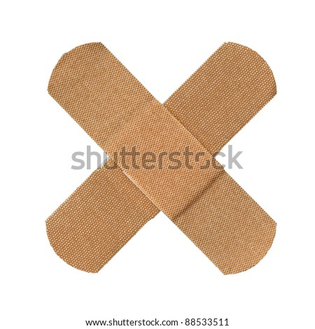 First-aid plaster, isolated on white - stock photo