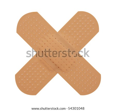 First-aid plaster,Isolated on white with clipping paths. - stock photo