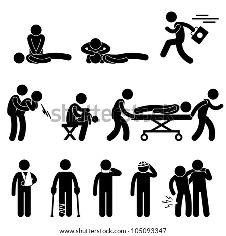 First Aid Rescue Emergency Help CPR Medic Saving Life Icon Symbol Sign Pictogram - stock photo