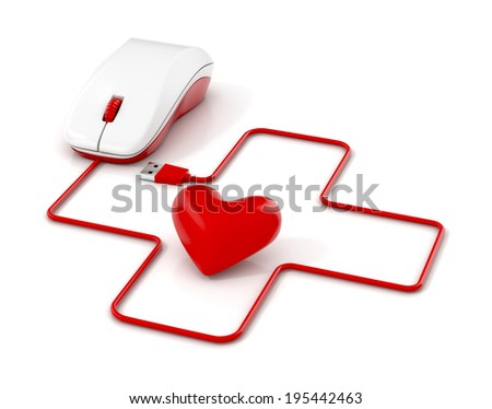 First aid sign, heart  and computer mouse. 3d illustration. - stock photo