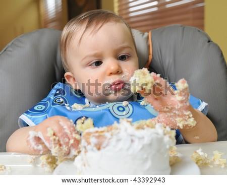 First birthday cake - stock photo
