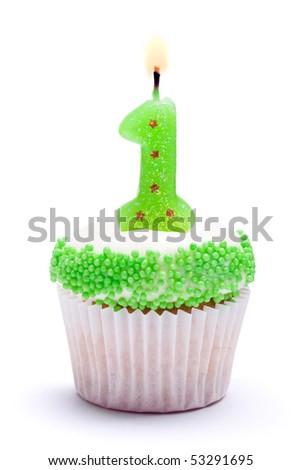 First birthday cupcake - stock photo