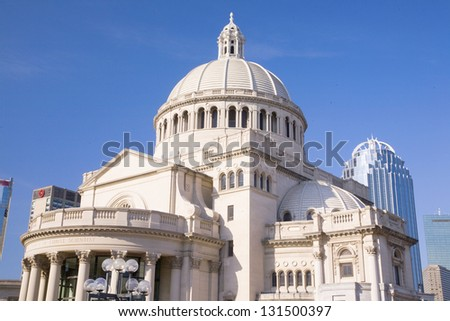 First Church of Christ Scientist, Christian Science founded by Mary Baker Eddy, Boston's Back Bay, Boston, MA, New England, USA - stock photo