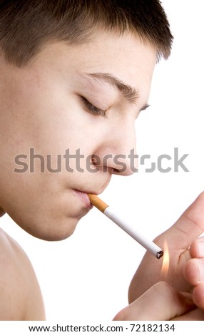 first cigarette - stock photo