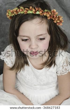 First Communion beautiful girl - stock photo